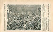 Les Solliciteurs de voix électorales par William Hogarth  GRAVURE OLD PRINT 1838