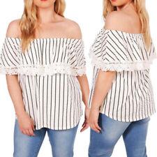 Maglie e camicie da donna senza marca fantasia righe senza maniche