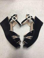 Sacha London Women's Black White Leather Ankle Strap Wedge Sandals Delta Sz 7.5