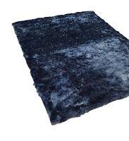 Modern Super Soft Touch Thick Velvet Shaggy Rug Ink Blue in 2 sizes Carpet