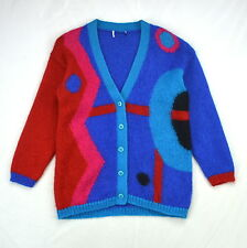 Vintage Retro 90s Cosby Multi Color Mohair Fuzzy Knit Cardigan Sweater Jumper L