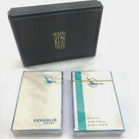 Republic & North Central Airlines Playing Cards White Sealed Decks KEM box