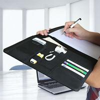 Black Leather Pad folio Notepad Planner Organizer Pocket Holder Card Slot Case