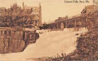 CATARACT FALLS SACO MAINE-SEPIA UNUSED PHOTO POSTCARD 1910s
