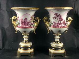 FINE PAIR OF FRENCH SEVRES PARIS PORCELAIN HAND PAINTED TWO HANDLED URN VASES