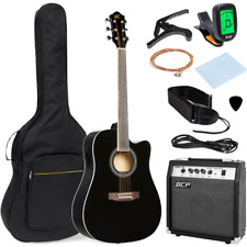 41in Full Size Acoustic Electric Cutaway Guitar Set Starter Beginner Kit Musical