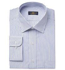 Club Room Men Regular-fit Blue White Stripe Button Dress Shirt 17 32/33