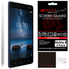 3 Pack of TECHGEAR CLEAR Screen Protector Guard Covers for Nokia 8