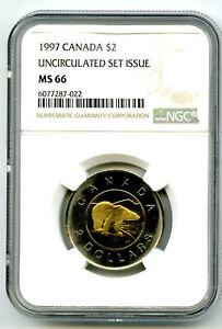 1997 $2 CANADA TOONIE (TWO DOLLAR) POLAR BEAR NGC MS66 POPULATION JUST 4