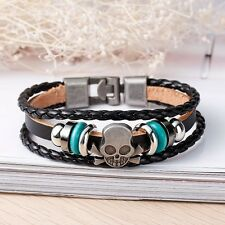 Leather braided metal stud SKULL Men's woman's wristband surfer bracelet