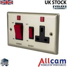 Volex 45A Cooker Control 13A Wall Socket Brushed Chrome Metal Plate