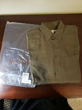 Travel Smith Men's Green Silk Long Sleeve Button Down Shirt LL