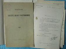 SOCIETE BELGE D'ASTRONOMIE : STATUTS, LETTRES MS JACOBS..., 1895.