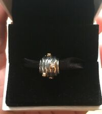 "NEW Authentic Retired PANDORA Sterling & 14kGOLD ""DIAMOND RIPPLE"" Charm 790209D"