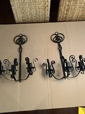 Vintage Spanish Revival Tudor Gothic Lamp Wall 2 Sconces