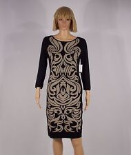 Nine West Dress Size Small Black Grey Pearl Damask Print Sweater Sheath NEW  $79