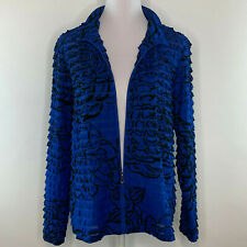 Erin London Women Top Jacket Blouse Floral Print Pleated Blue Black Plus Size 1X