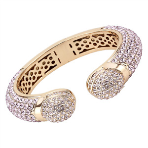 Ladies rose gold bangle pink sapphire pave chunky super sparkling hinged 4287