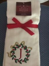"""New listing Monogrammed """"J� Set Of Christmas/Winter Hand Towels, 2"""