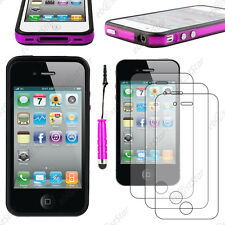 Housse Coque Etui Bumper Violet / Noir Apple iPhone 4S 4+Mini Stylet+3 Films