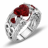 Silber roter Rubin Edelstein Birthstone Hochzeit Verlobungsherz B0S0 Ring Z6R0