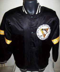 PITTSBURGH PENGUINS NHL STARTER Satin Jacket Traditional MEDIUM LARGE Black