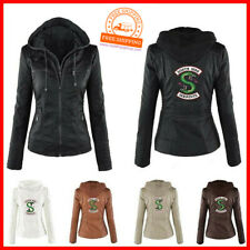 Riverdale South side Serpents PU Leder Jacke Damen abnehmbare Kapuze