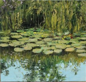 "Nad brzegiem"" Original Oil Painting 30x30cm signed Garncarek Al,,"