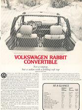 1981 1980 Volkswagen Rabbit Convertible Original Car Review Print Article J464