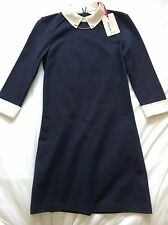 Ted Baker Ladies Wubty Contrast Collar Dress Navy Size 0 (UK 6) New with Tags