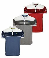 Mens Kangol Stripes Polo T-shirt Short Sleeve Collar Tee Top Casual Wear