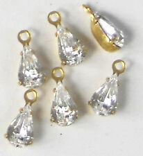 #246 Wholesale Vintage Swarovski Drops Rhinestones Crystal  Prong Pears Dangles
