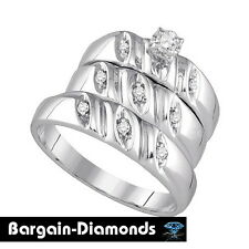 Diamond 3-Band Wedding Ring Set .12 carats bridal bride 925 engagement groom
