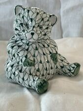 Andrea by Sadek Hand Painted Green & White Bear Figurine Fishnet Design