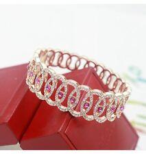 18K Gold GP Made With Swarovski Crystal Elements Pink Fashion Bangle Bracelet