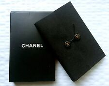 Authentic CHANEL Logo Small Pocketsize Notebook Note Pad Black in Original Box