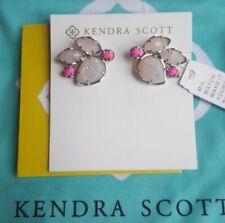 Kendra Scott Carmen Iridescent Drusy Pink Rose Rhodium Earrings Drop Fashion NEW