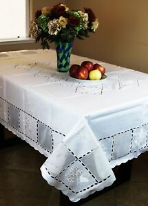 SALE 54x72'' Rectangular White Embroidered Floral Embroidery Fabric 6 Tablecloth