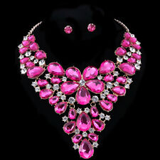 Pink Austrian Crystal Earring Necklace Bridal Wedding Party Golden Jewelry Set