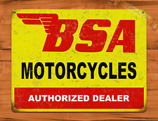 "TIN-UPS TIN SIGN ""BSA Motorcycles"" Auto Vintage Garage Wall Decor Man Cave"