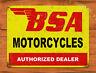 "TIN SIGN ""BSA Motorcycles"" Bike Rustic Garage Wall Decor Man Cave"