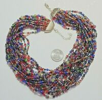 """Thick 20-Strand MultiColor Czech Glass Seed Bead Necklace, Goldtone 20.5"""""""