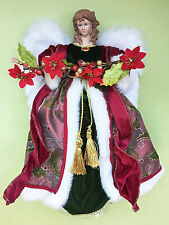 CHRISTMAS TREE TOPPERS - ANGEL CHRISTMAS TREE TOPPER WITH POINSETTIA GARLAND