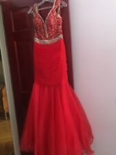 pre owned  red pageant sherri hill dress gown size 8 excellent condition