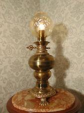 antik alte große Tischlampe Messing Bronze Altgold Glas Frankreich ca. 1920
