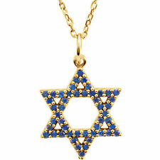 "Blue Sapphire Star of David 16"" Necklace In 14K Yellow Gold"