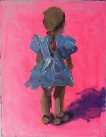Original Impressionism Realism Figure Painting Hot Pink Girl Child Small Artwork