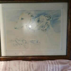 Greyhound Print Framed Signed Pollyanna Pickering