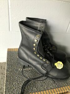 """VTG Georgia Work Boot 8"""" Steel Toe Black Leather Made In USA NOS BOX SZ 9 R"""