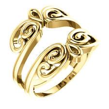 14K Yellow Gold Solitaire Ring Guard Wrap Enhancer Engagment Bridal Wedding Ring
